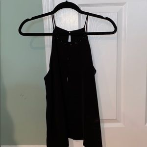 NWT black Zara key hole sleeveless top size L